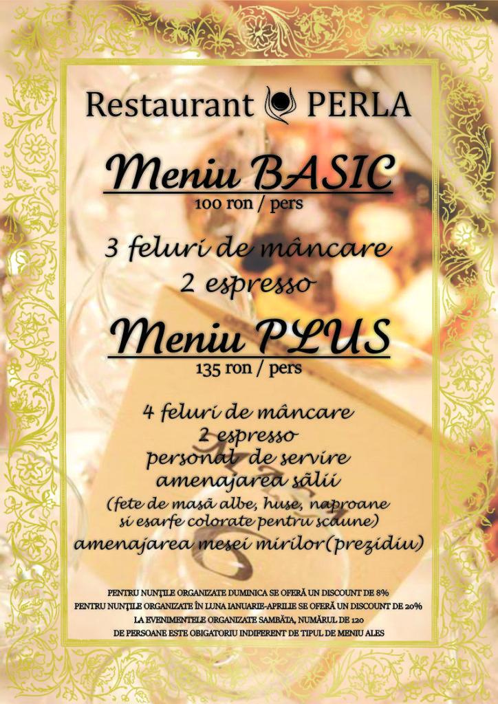 Meniu Nunti Restaurant Perla
